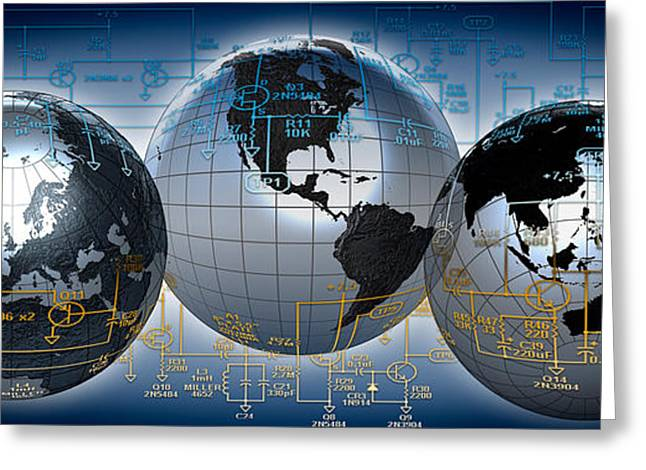 Global Communications Greeting Cards - Three Globes With Electronic Diagram Greeting Card by Panoramic Images
