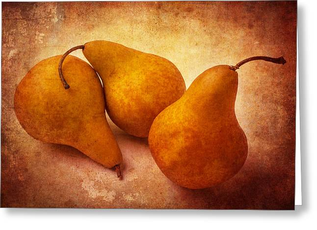 Edible Greeting Cards - Three Gold Pears Greeting Card by Garry Gay