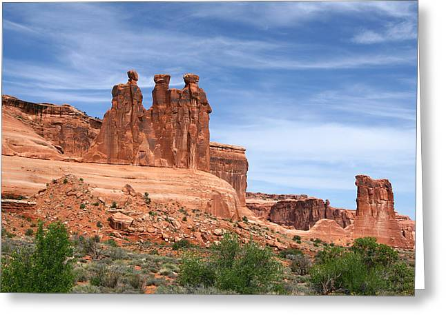 Arches National Park Digital Greeting Cards - Three Gossips - Arches National Park Greeting Card by Nomad Art And  Design