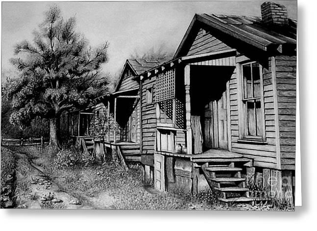 Tin Roof Drawings Greeting Cards - Three Graces Black and White Greeting Card by David Neace