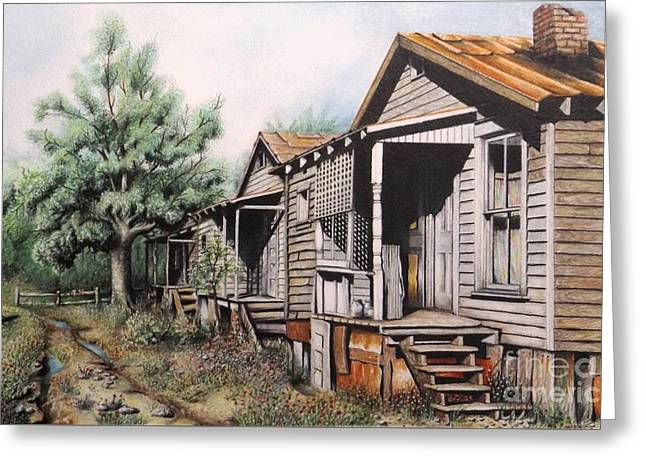 Abandoned Houses Drawings Greeting Cards - Three Graces Greeting Card by David Neace