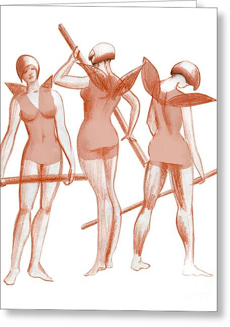 Ballet Dancers Drawings Greeting Cards - Three graces practicing ballet dancers in costumes fantasy sketc Greeting Card by Christina Rahm
