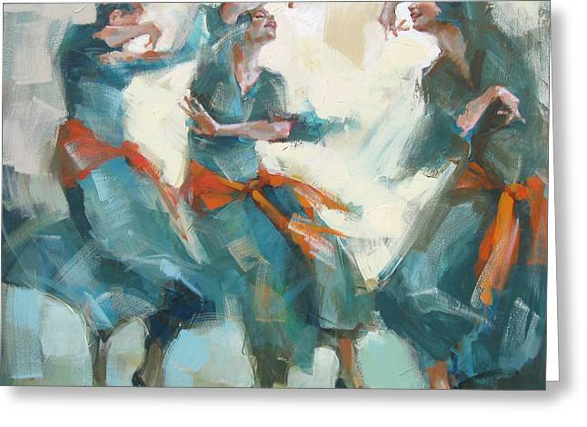 Recently Sold -  - Dancing Girl Greeting Cards - Three Graces Greeting Card by Renata Domagalska