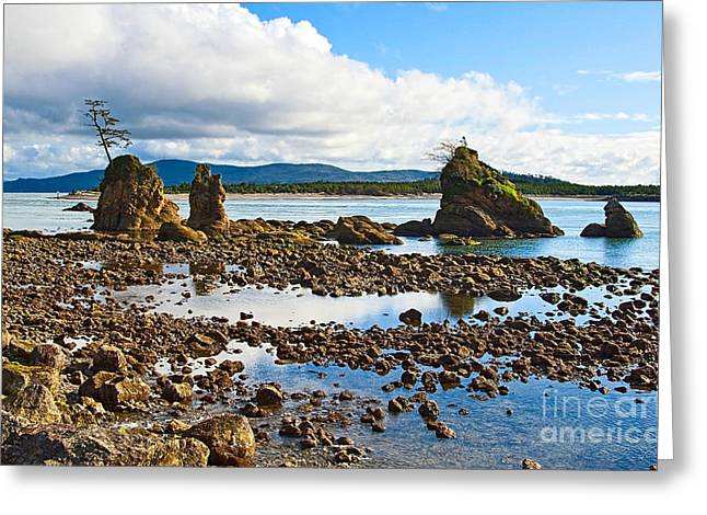 Monolith Greeting Cards - Three Graces Rock Formation in Oregon Greeting Card by Jamie Pham