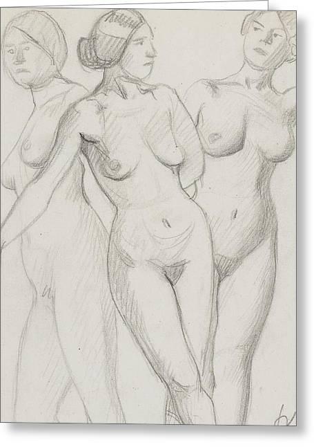 Three Graces Study  Greeting Card by Felix Edouard Vallotton