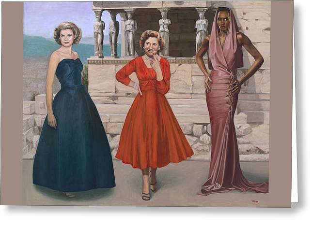Caryatids Greeting Cards - Three Graces Greeting Card by Terry Guyer