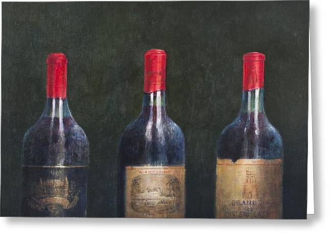 Great Wine Greeting Cards - Three Great Clarets, 2014 Oil On Canvas Greeting Card by Lincoln Seligman