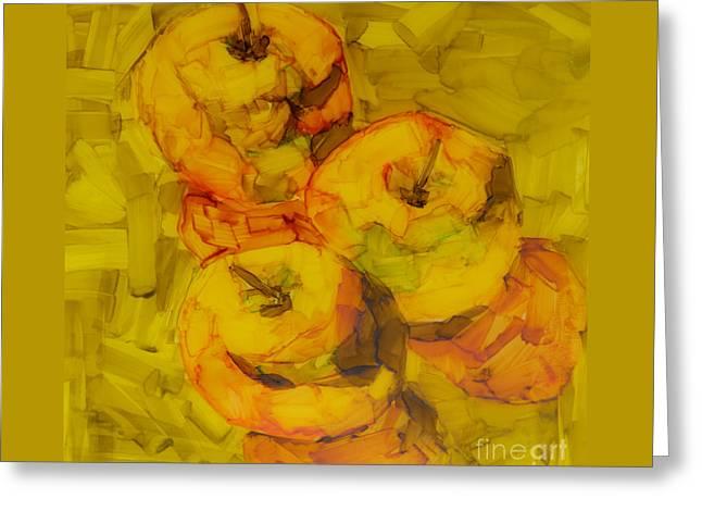 Three Green Apples Modern Art Greeting Card by Patricia Awapara