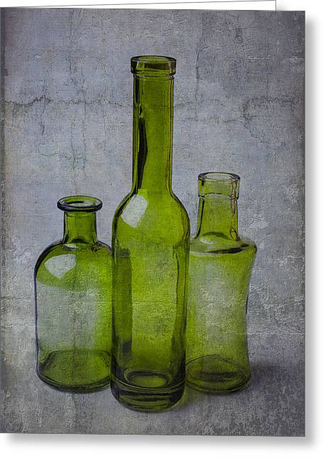 Breakable Greeting Cards - Three Green Bottles Greeting Card by Garry Gay