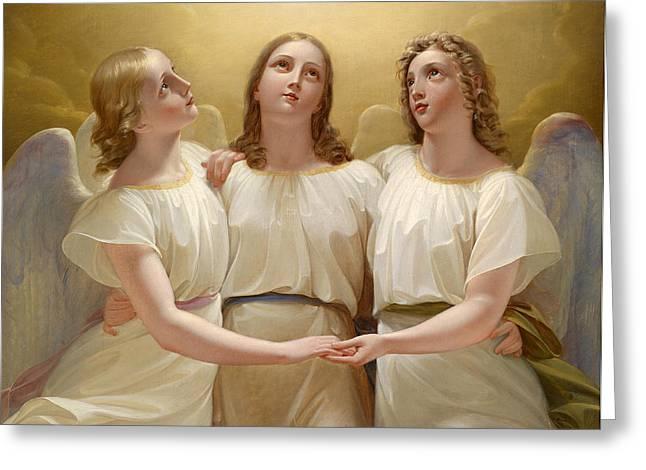 Guardian Angel Greeting Cards - Three guardian angels Greeting Card by Franz Kadlik