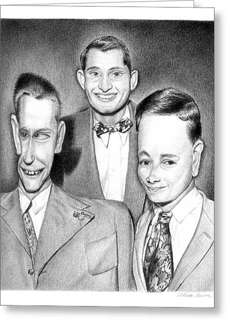 1950s Portraits Greeting Cards - Three Guys Greeting Card by Melinda Fawver