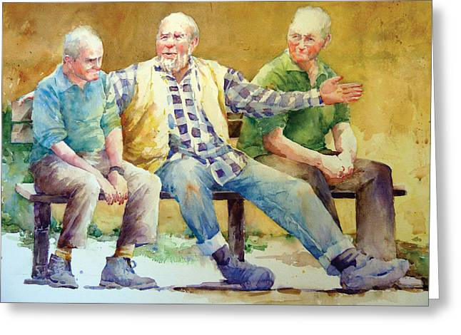 Three Guys On A Bench Greeting Card by Janet Flom