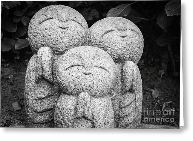 Meditative Greeting Cards - Three Happy Buddhas II Greeting Card by Dean Harte