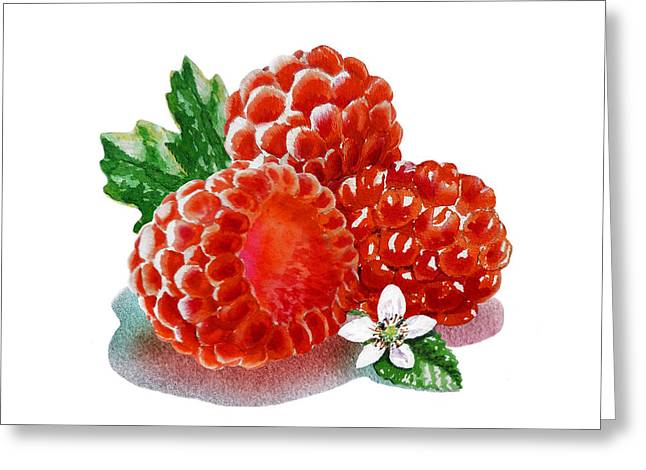 Labelled Greeting Cards - Three Happy Raspberries Greeting Card by Irina Sztukowski