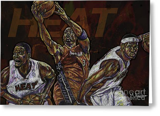 Lebron James Greeting Cards - Three Headed Monster Greeting Card by Maria Arango