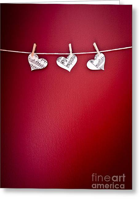 Peg Greeting Cards - Three Hearts Greeting Card by Jan Bickerton