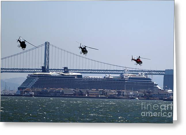 Bay Bridge Greeting Cards - Three Helicopters Bay Bridge Greeting Card by Jason O Watson