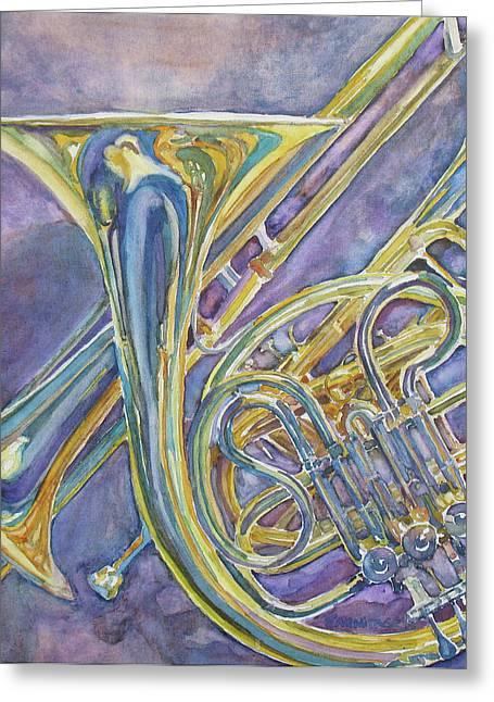 Three Horns Greeting Card by Jenny Armitage