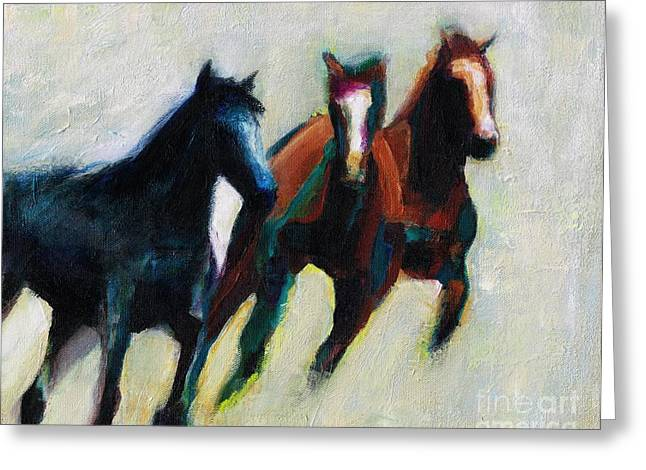 Contemporary Horse Greeting Cards - Three Horses on the Diagonal Greeting Card by Frances Marino