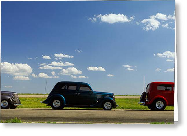Hot Rod Photography Greeting Cards - Three Hot Rods Moving On A Highway Greeting Card by Panoramic Images