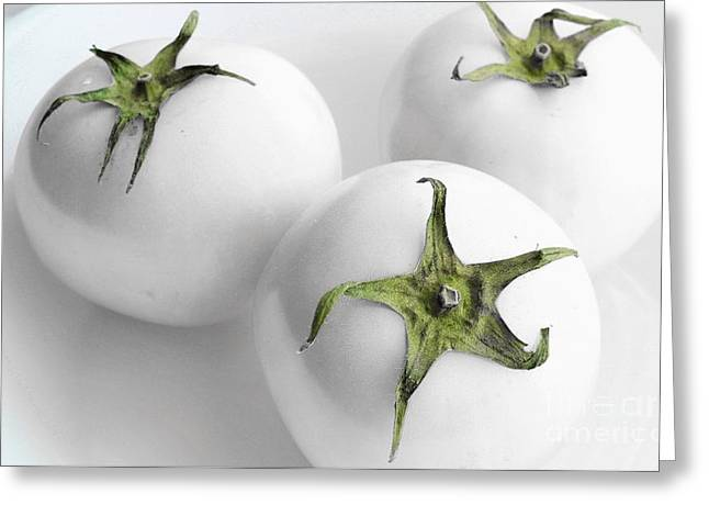Green Barbara Griffin Art Greeting Cards - Three Hothouse White Tomatoes Greeting Card by Barbara Griffin