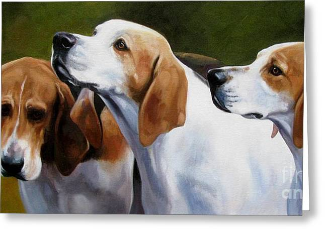 Foxhound Greeting Cards - Three Hounds Greeting Card by Janet  Crawford