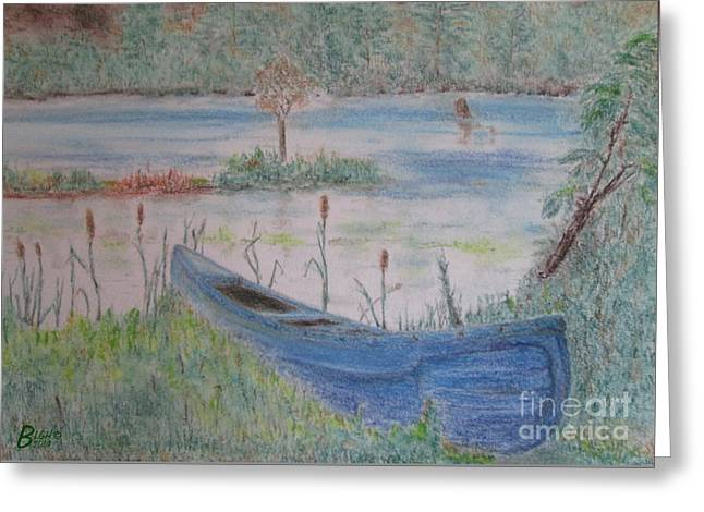 Canoe Pastels Greeting Cards - Three Hour Tour Greeting Card by Blg H