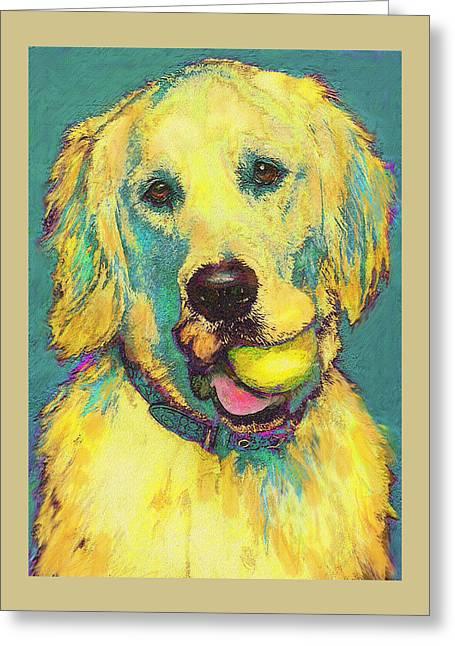 Golden Retriever Digital Art Greeting Cards - Three hundred fiftyfourth retrieve Greeting Card by Jane Schnetlage