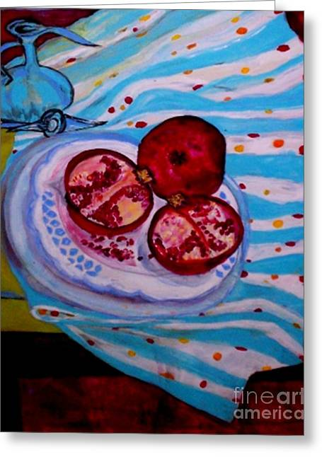 Table Wine Drawings Greeting Cards - Three Hundred Sixty-Five Greeting Card by Helena Bebirian