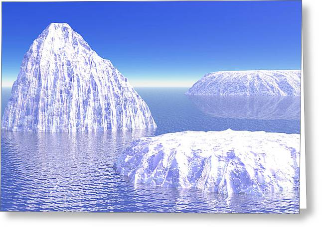 Reflections On Snow Greeting Cards - Three Icebergs In Ocean By Daylight Greeting Card by Elena Duvernay