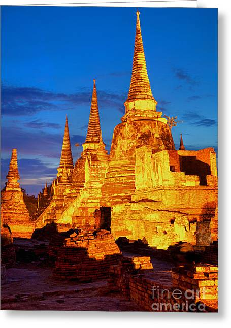 Ayuthaya Greeting Cards - Three illuminated pagodas at Wat Phra Si Sanphet Ayutthaya Greeting Card by Fototrav Print