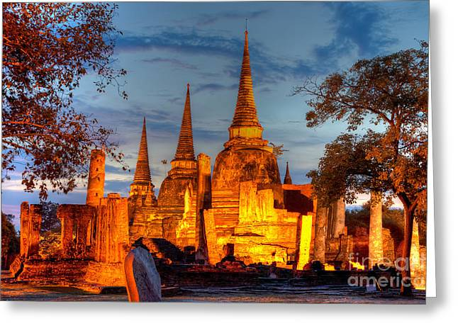 Ayuthaya Greeting Cards - Three illuminated pagodas at Wat Phra Si Sanphet Ayutthaya Tha Greeting Card by Fototrav Print