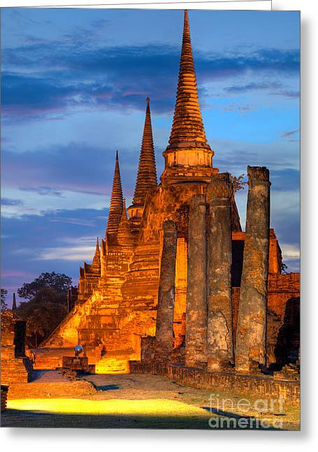 Ayuthaya Greeting Cards - Three illuminated pagodas Thailand Greeting Card by Fototrav Print
