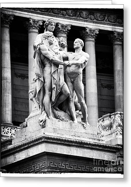 Nudes Sculptures Greeting Cards - Three in Piazza Venezia Greeting Card by John Rizzuto