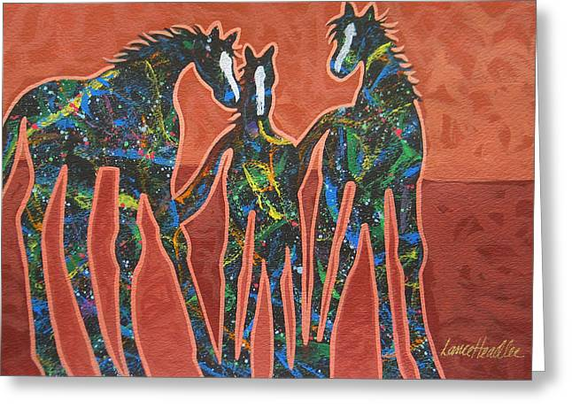 Arizona Contemporary Cowgirl Greeting Cards - Three In The Family Greeting Card by Lance Headlee