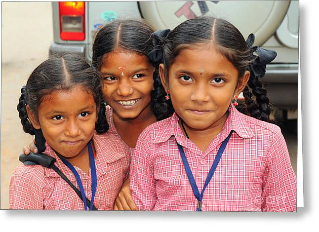Schoolgirl Greeting Cards - Three Indian Girls Greeting Card by Colin Woods