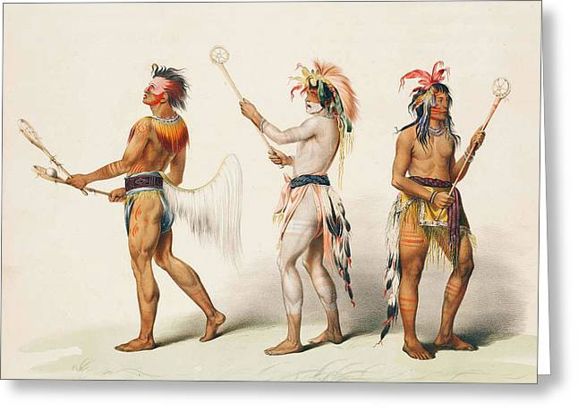 Lacrosse Greeting Cards - Three Indians Playing Lacrosse Greeting Card by Unknown