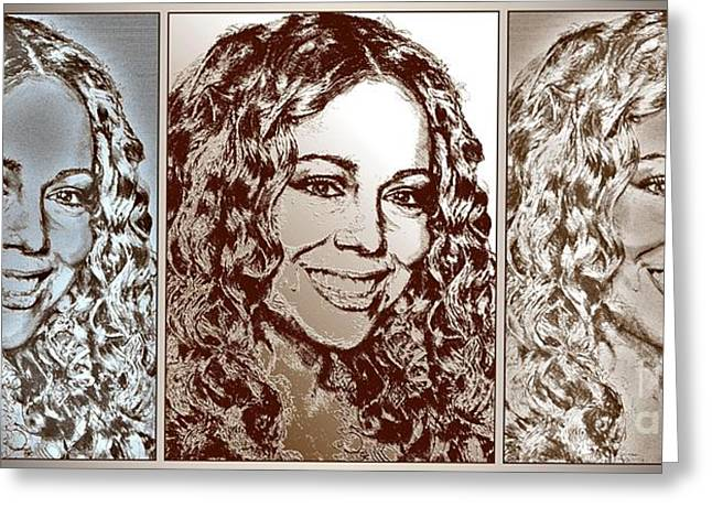Gold Star Mother Greeting Cards - Three Interpretations of Mariah Carey Greeting Card by J McCombie