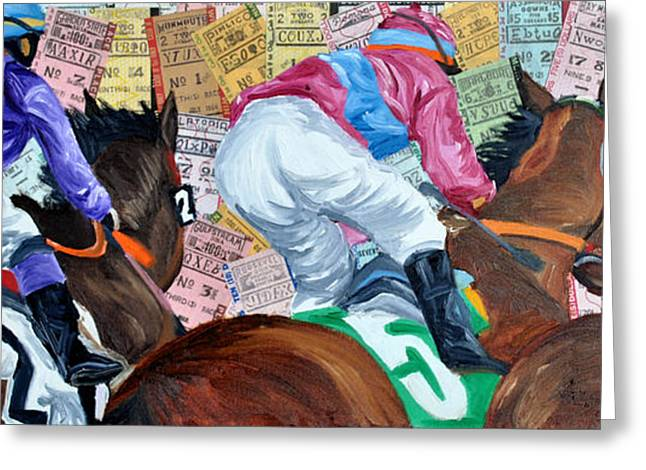 Race Horse Greeting Cards - Three into the turn Greeting Card by Michael Lee