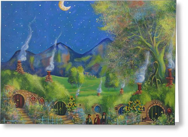 Lord Of The Rings Greeting Cards - Three is Company. A Starry Night In The Shire  Greeting Card by Joe  Gilronan