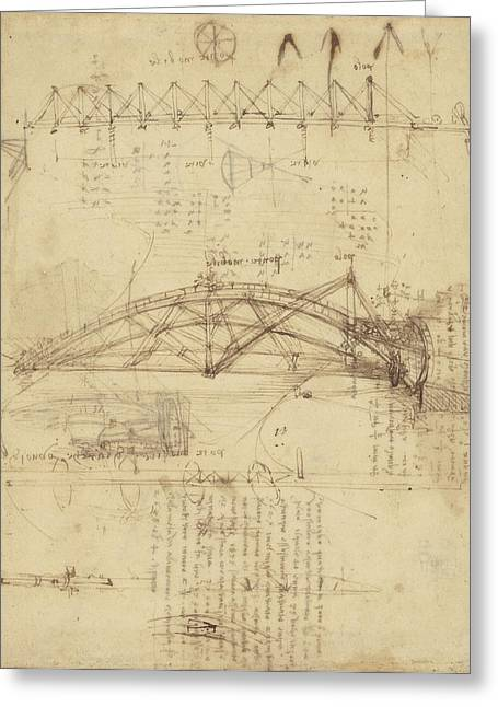 Mathematical Greeting Cards - Three kinds of movable bridge Greeting Card by Leonardo Da Vinci