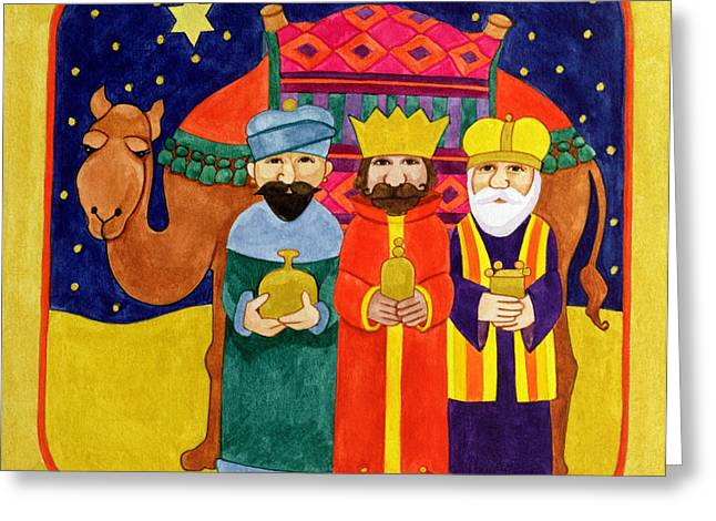 Dromedary Greeting Cards - Three Kings and Camel Greeting Card by Linda Benton