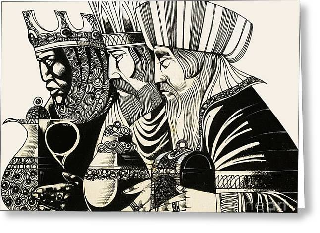 Black Drawings Greeting Cards - Three Kings Greeting Card by Richard Hook