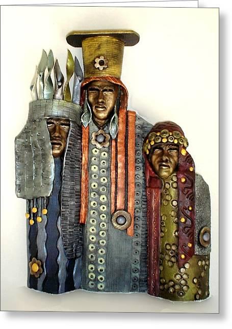People Sculptures Greeting Cards - Three Kings Greeting Card by Wayne Niemi