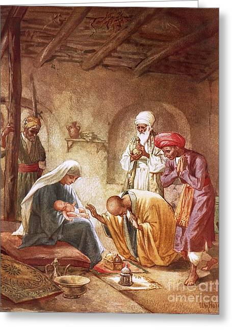 Present Paintings Greeting Cards - Three kings worship Christ Greeting Card by William Brassey Hole
