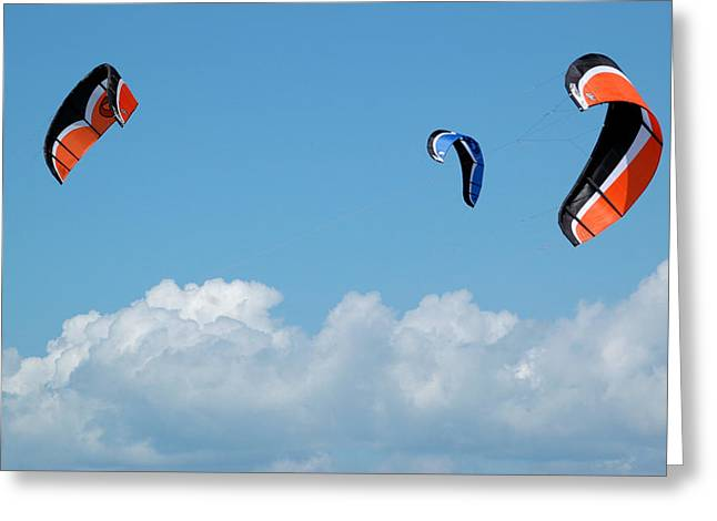 Kite Boarding Greeting Cards - Three kite boarding kites at the 2007 Barmouth Kite Festival Greeting Card by Rob Huntley