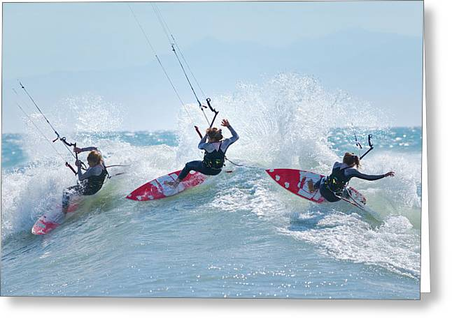 Kitesurfer Greeting Cards - Three Kitesurfers In Water Tarifa Greeting Card by Ben Welsh