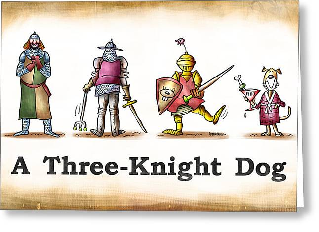 Three Knight Dog Greeting Card by Mark Armstrong