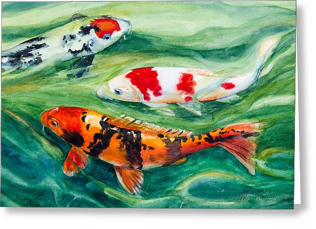 Three Koi Greeting Card by Patricia Allingham Carlson