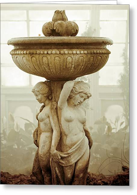 Conservatory Garden Greeting Cards - Three Ladies Fountain Greeting Card by Garry Gay